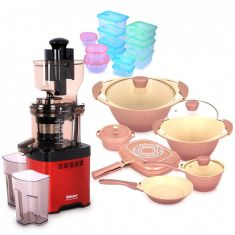 whole mouth Slow Juicer JE20 Red with Flora Cookware Set & Storage Set