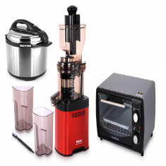 Whole Big Mouth Juicer - Red LDDC-1507 with 5Liter Pressure Cooker and 11L Electric Oven