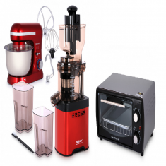 Whole Big Mouth Juicer - Red LDDC-1507 with Balzano Stand Mixer SM-1510N - Red and 11L Electric Oven