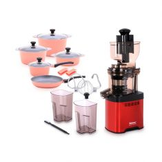 Balzano Whole Mouth Slow Juicer JE20 Red with Dura Cookware